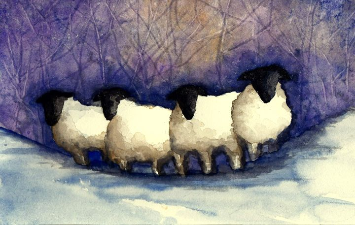 Sheep in the snow - Sharon HArt Designs