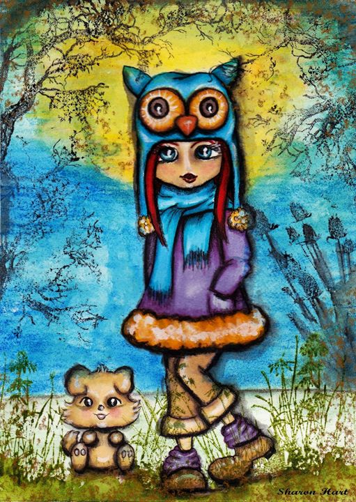 girl in an owl hat - Sharon HArt Designs