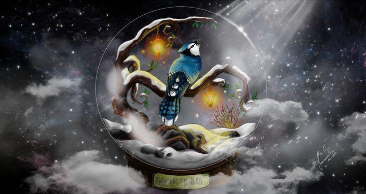 The Caged Bird - BlueJay Artwork