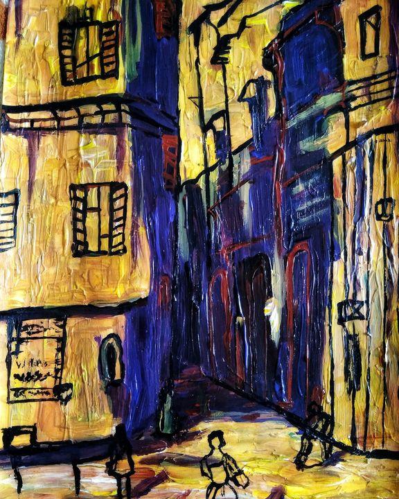 Yellow city with purple shadows - Alexander Brisac