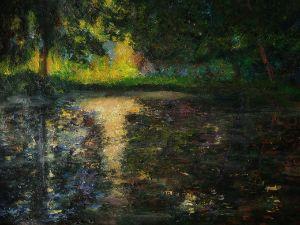 Summer lake, impressionism art