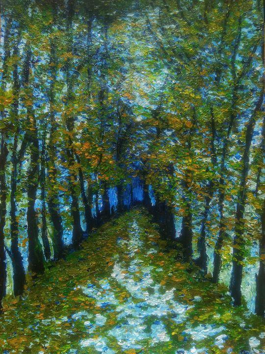 Autumn alley painting - Alexander Brisac