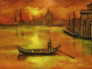 Gondolier at the dusk