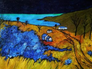 Night field landscape painting