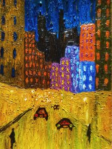 Night city art painting
