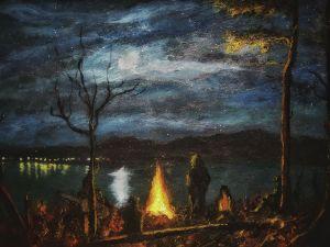 Campfire under full moon