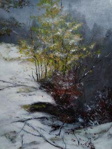 Winter snow landscape, acrylic art p