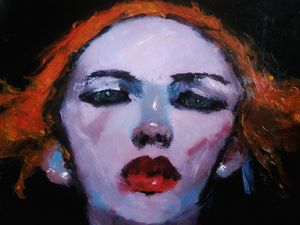 Redhead girl acrylic painting