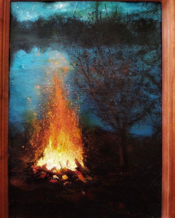 Bonfire by lake - Alexander Brisac
