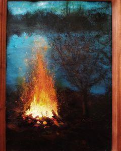Bonfire by lake