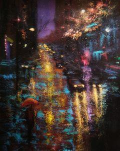 Rainy night city