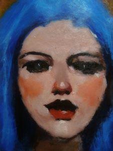 Blue hair girl portrait