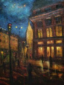 Night street art painting