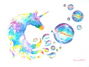 Colorful unicorn watercolor painting