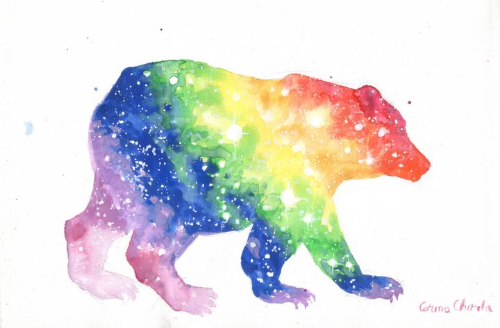 Colorful bear watercolor painting - CORinAZONe