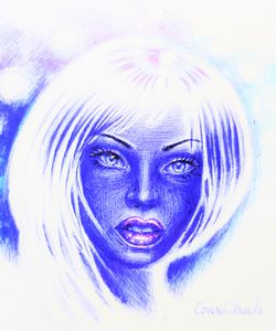 blue face ball point pen drawing