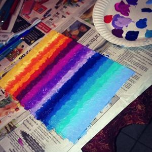Rainbow Acrylic Striped Painting