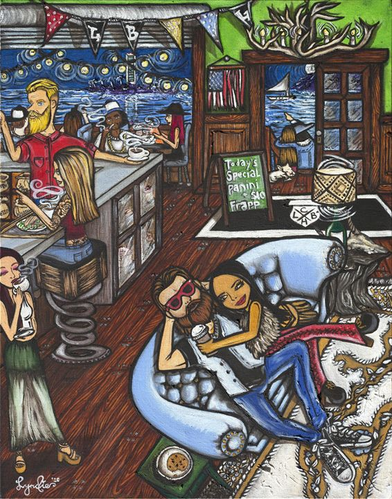 Craftsman Coffee House on Ocean - Lyndie Art