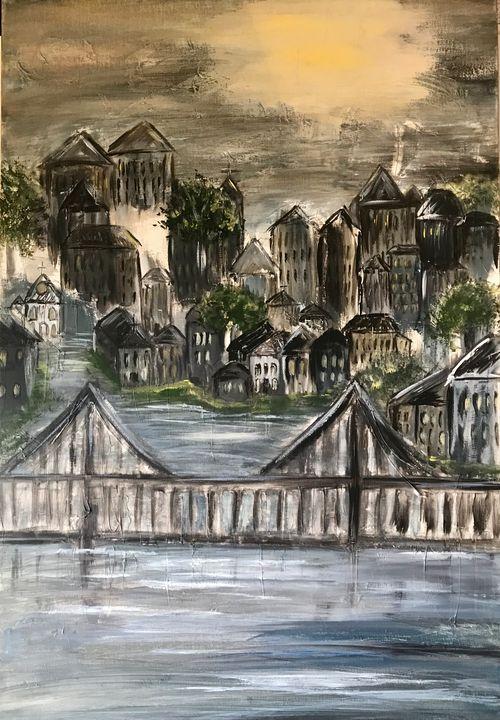 City in the Evening - Blue Oakley Art