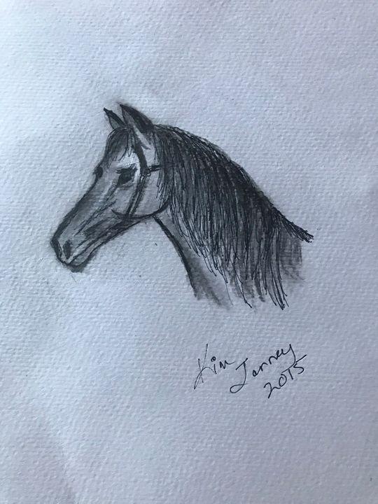 Horse in Pencil - Blue Oakley Art