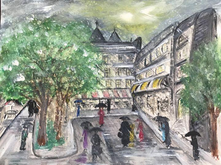 City in the Rain - Blue Oakley Art