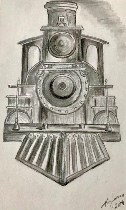 Old Steam Engine - Blue Oakley Art