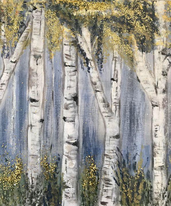 Trees in White II - Blue Oakley Art