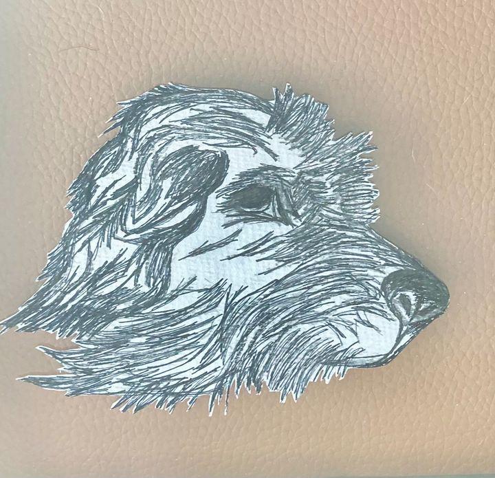 Dog in ink - Blue Oakley Art