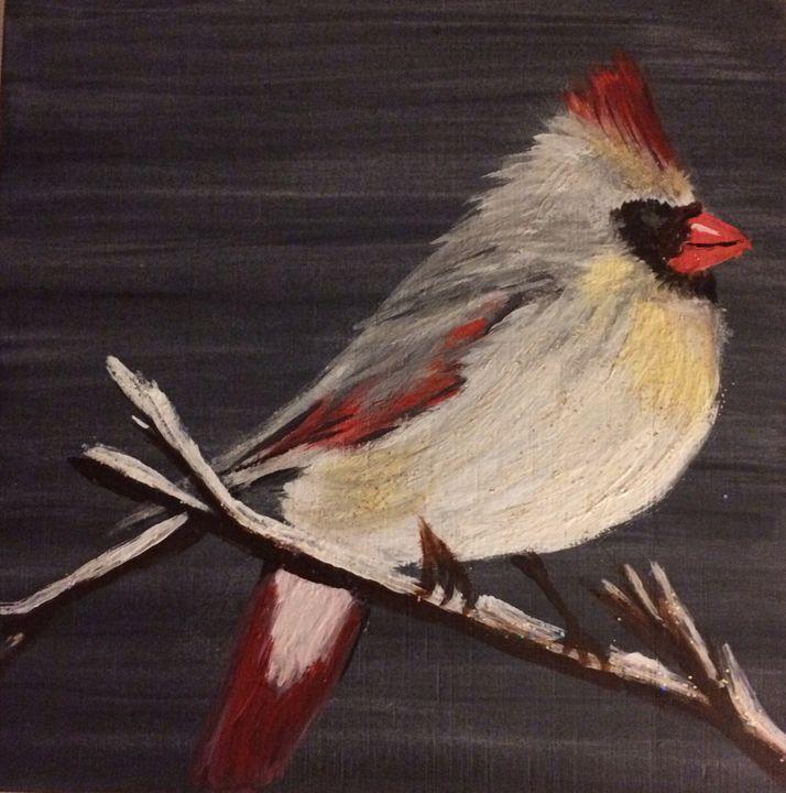Cardinal in White - Blue Oakley Art