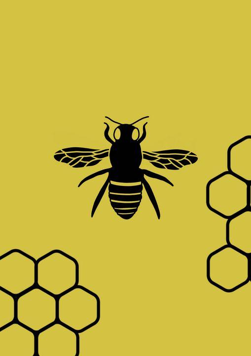 Queen bee and honeycomb - Amelia I. Sime