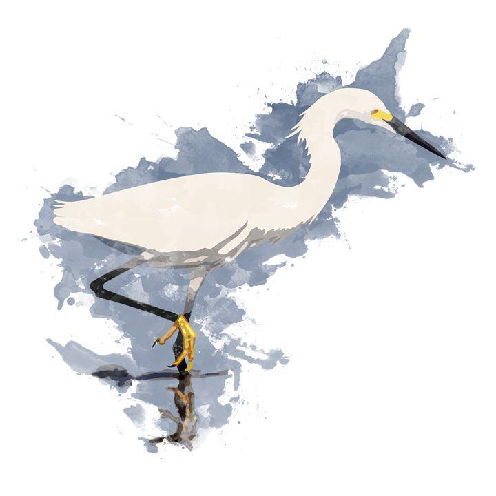 Snowy Egret - Watercolor Style - AaronJTurner