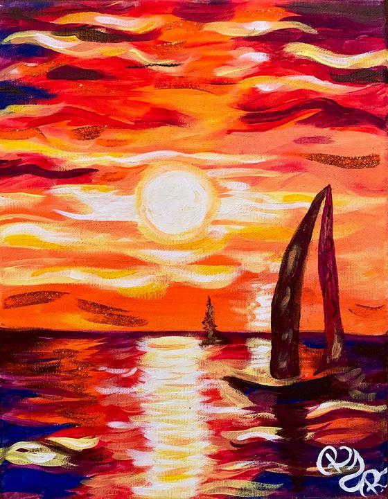 August Sunset Sail - Rebecca Russell Art