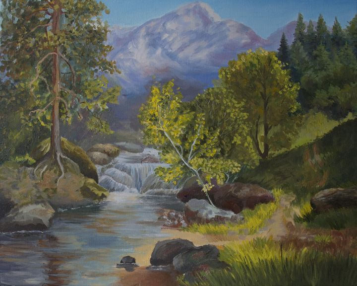 Mountain stream - Olga Kolpakova's paintings
