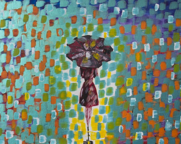 A girl in the rain - Olga Kolpakova's paintings