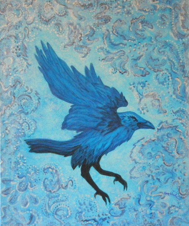 Raven in Blue - Artist Kay Vickerman