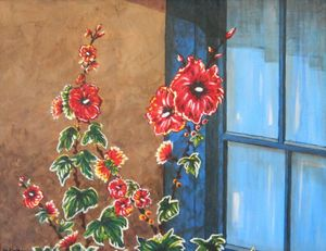 Blue Window and Red Hollyhocks