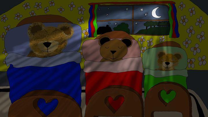 Teddy Bears in Bed - Polly's Art