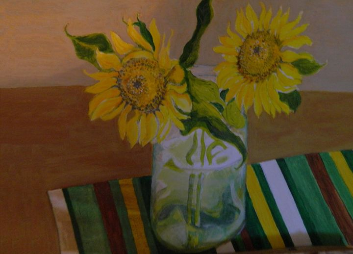 Sun Flowers in a Jar - Polly's Art