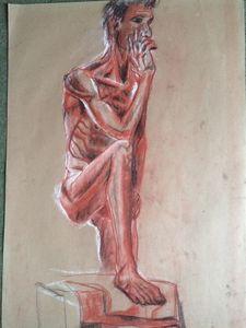 Man with raised leg