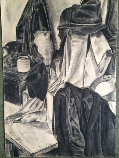 Still life with hats and jackets - Anna Maconochie