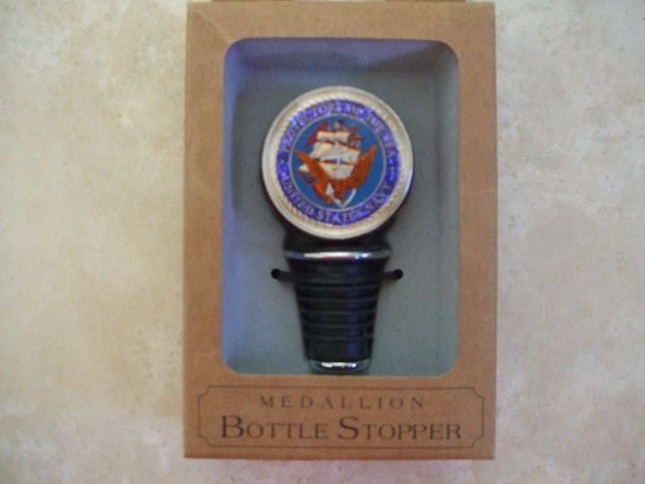 Hand Painted Navy Bottle stopper - Maverick Designs
