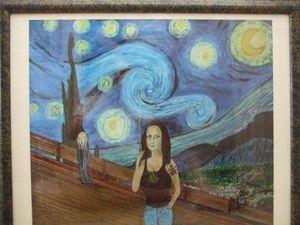 Mona Lisa on a Starry Night Print