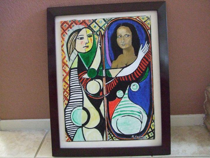 Mona Lisa Girl at the Mirror - Maverick Designs