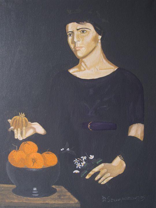 Girl fruit with orange - Lussoart