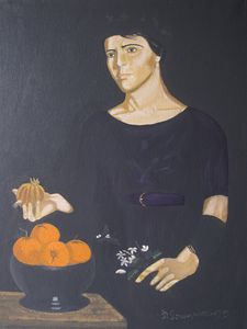 Girl fruit with orange