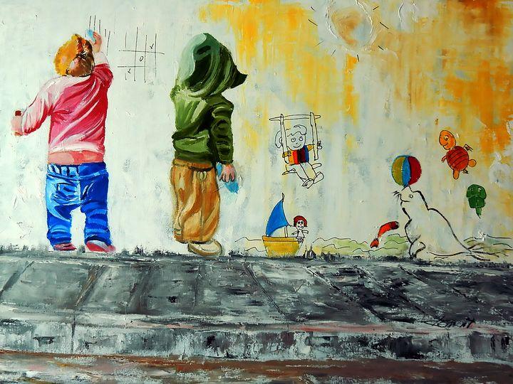 Two Children Drawing Wall Art - One Studio