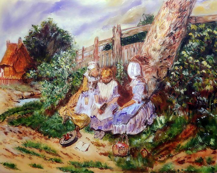 Three Girls Reading in the Garden - One Studio