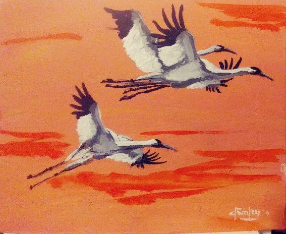 Crane Train - Southwestern Paintings by David