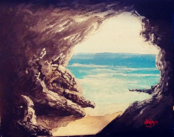 Southern California Sea Cave - Southwestern Paintings by David