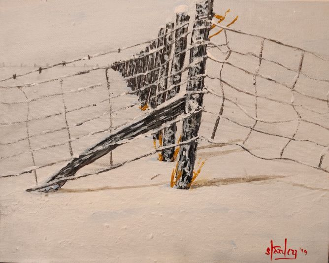 Winter Fence Line - Southwestern Paintings by David